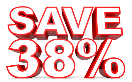 38: Discount 38 percent off. 3D illustration on white background.