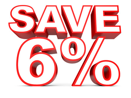 Discount 6 percent off. 3D illustration on white background.