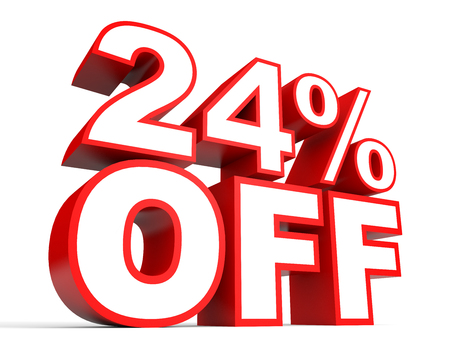 Discount 24 percent off. 3D illustration on white background.