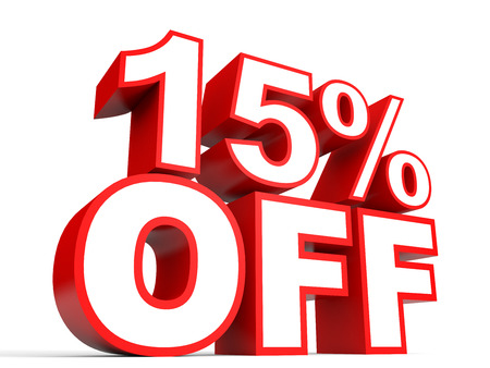 Discount 15 percent off. 3D illustration on white background. Stock Photo