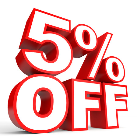 stock price losses: Discount 5 percent off. 3D illustration on white background.