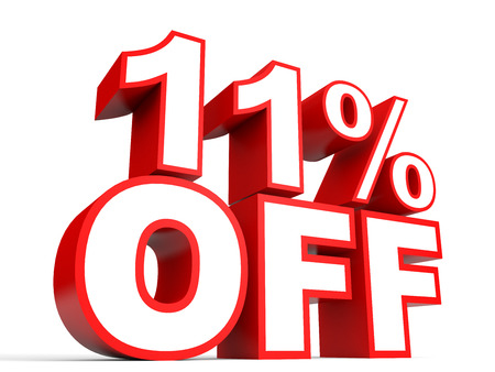 Discount 11 percent off. 3D illustration on white background.