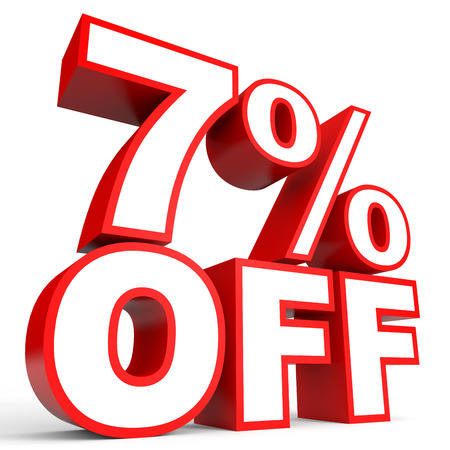 Discount 7 percent off. 3D illustration on white background. Stock Photo