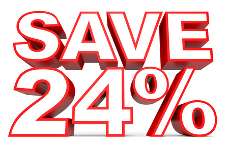 24 off: Discount 24 percent off. 3D illustration on white background.