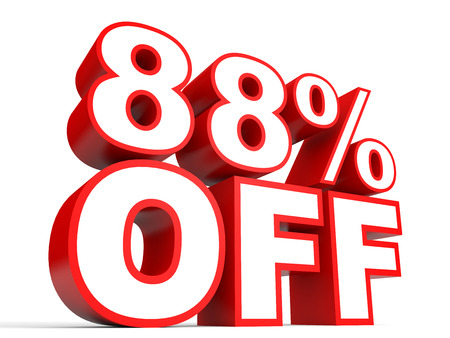 Discount 88 percent off. 3D illustration on white background. Stock Photo