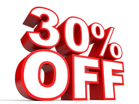 stock price losses: Discount 30 percent off. 3D illustration on white background.
