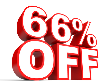 Discount 66 percent off. 3D illustration on white background. Stock Photo