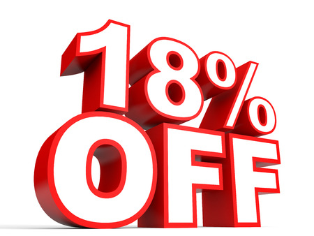 Discount 18 percent off. 3D illustration on white background. Stock Photo