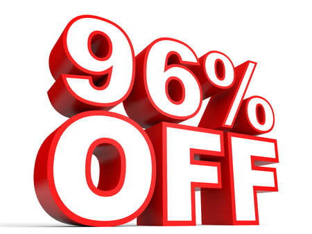 percentage: Discount 96 percent off. 3D illustration on white background.