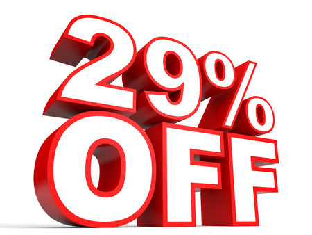 Discount 29 percent off. 3D illustration on white background. Stock Photo