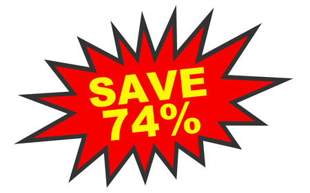 seventy: Discount 74 percent off. 3D illustration on white background.