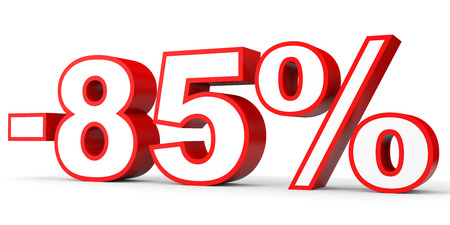 Discount 85 percent off. 3D illustration on white background. Stock Photo
