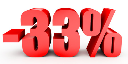 thirty percent off: Discount 33 percent off. 3D illustration on white background. Stock Photo