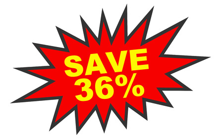 number 36: Discount 36 percent off. 3D illustration on white background.