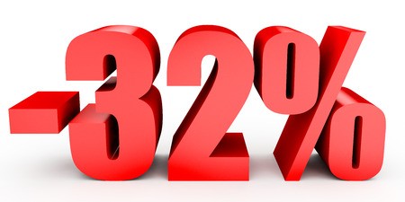 thirty percent off: Discount 32 percent off. 3D illustration on white background.