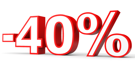 stock price losses: Discount 40 percent off. 3D illustration on white background. Stock Photo