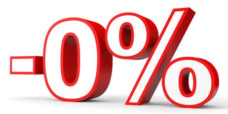 Zero percent. 3D illustration on white background.