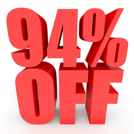 bargaining: Discount 94 percent off. 3D illustration on white background.