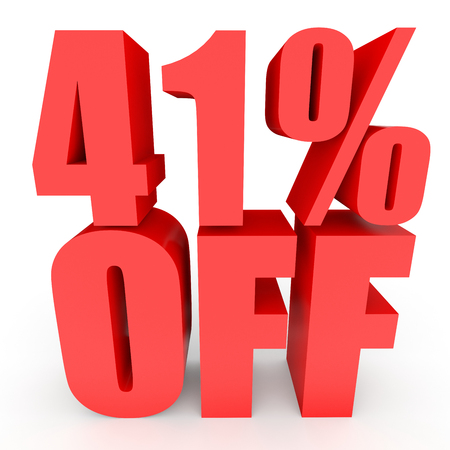 bargains: Discount 41 percent off. 3D illustration on white background.