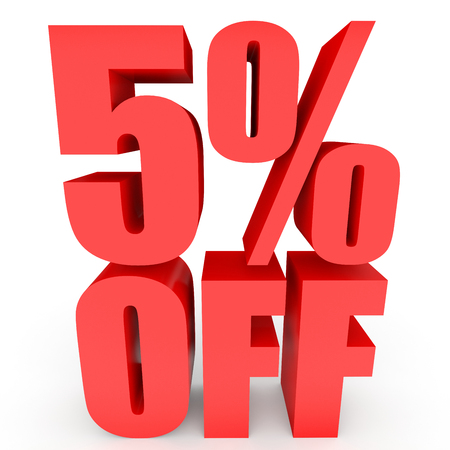 bargains: Discount 5 percent off. 3D illustration on white background.