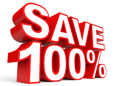 Discount 100 percent off. 3D illustration on white background.