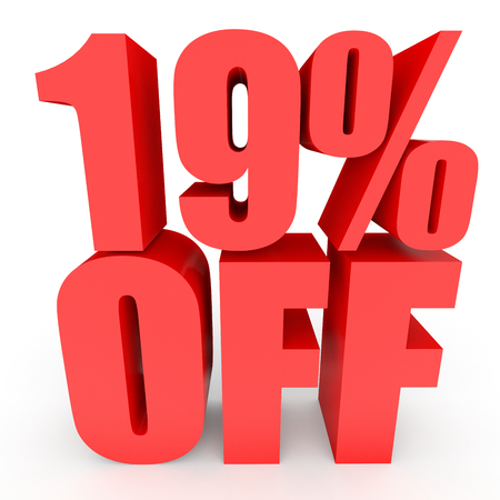 bargains: Discount 19 percent off. 3D illustration on white background.