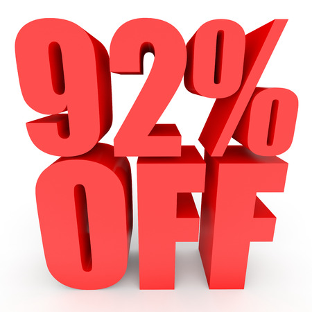 bargains: Discount 92 percent off. 3D illustration on white background. Stock Photo