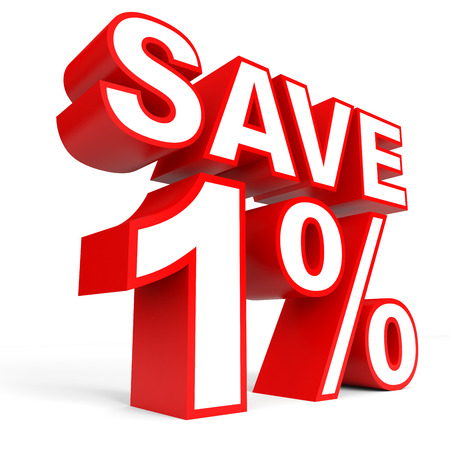 bargaining: Discount 1 percent off. 3D illustration on white background. Stock Photo