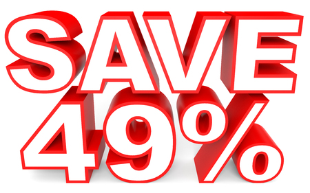 bargains: Discount 49 percent off. 3D illustration on white background. Stock Photo