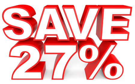 27: Discount 27 percent off. 3D illustration on white background.