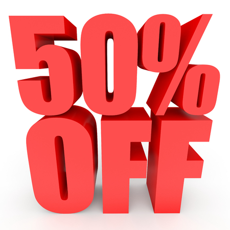 Discount 50 percent off. 3D illustration on white background.