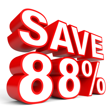 bargains: Discount 88 percent off. 3D illustration on white background. Stock Photo