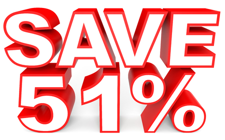Discount 51 percent off. 3D illustration on white background. Stock Photo