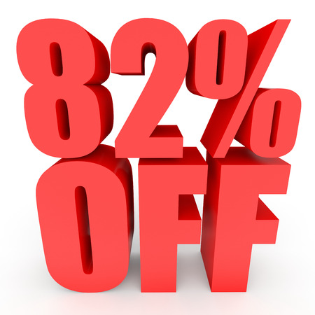 bargains: Discount 82 percent off. 3D illustration on white background. Stock Photo