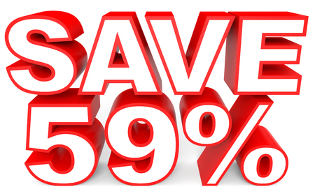 Discount 59 percent off. 3D illustration on white background.