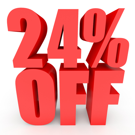 stock price losses: Discount 24 percent off. 3D illustration on white background.