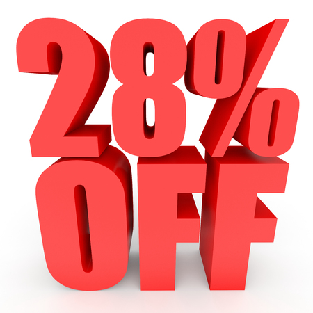 Discount 28 percent off. 3D illustration on white background. Stock Photo