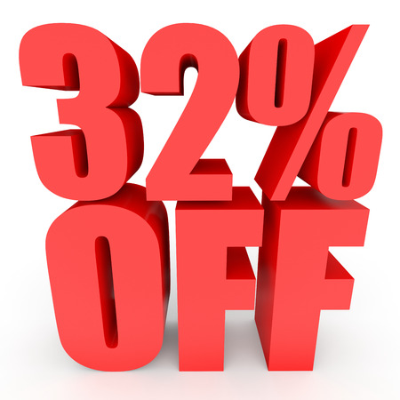 bargains: Discount 32 percent off. 3D illustration on white background.