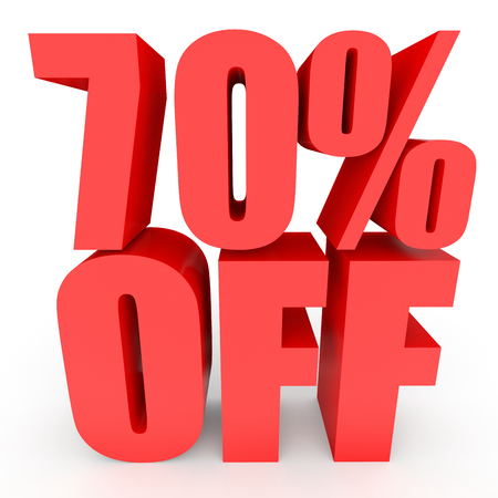 seventy: Discount 70 percent off. 3D illustration on white background.