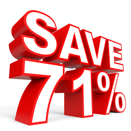 Discount 71 percent off. 3D illustration on white background. Stock Photo
