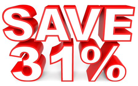 bargains: Discount 31 percent off. 3D illustration on white background.