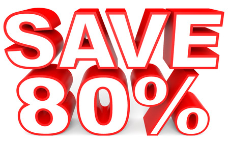 bargains: Discount 80 percent off. 3D illustration on white background.