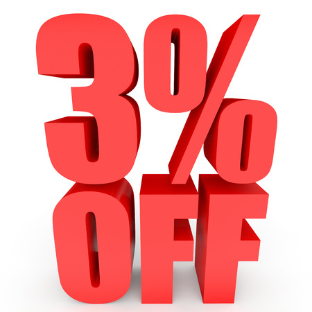 Discount 3 percent off. 3D illustration on white background.