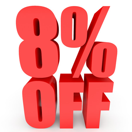 bargains: Discount 8 percent off. 3D illustration on white background. Stock Photo