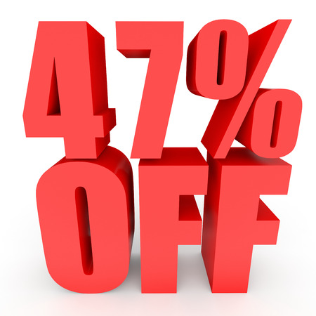 bargains: Discount 47 percent off. 3D illustration on white background.