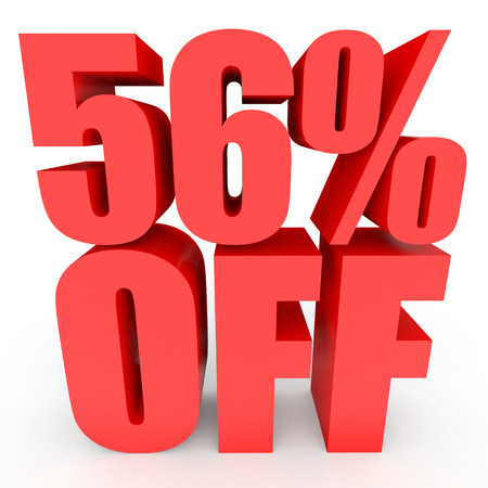 stock price losses: Discount 56 percent off. 3D illustration on white background.