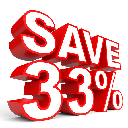 bargains: Discount 33 percent off. 3D illustration on white background. Stock Photo