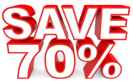 bargains: Discount 70 percent off. 3D illustration on white background.