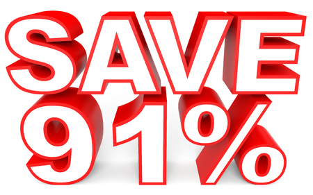 bargains: Discount 91 percent off. 3D illustration on white background.