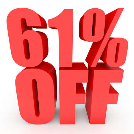 Discount 61 percent off. 3D illustration on white background. Stock Photo